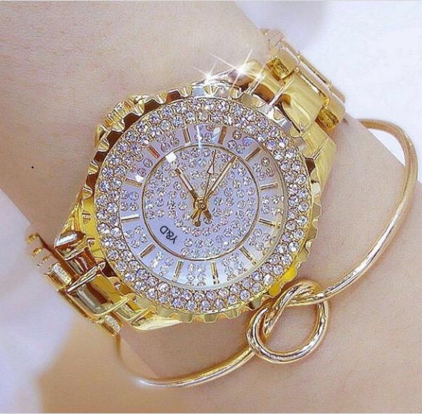 Đồng hồ nữ đẹp Y&D mặt đính đá dây thép không gỉ chống nước thời trang cá tính bán chạy