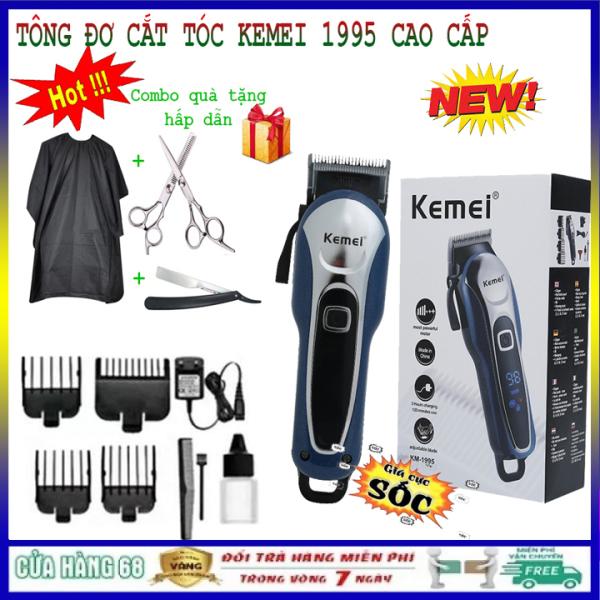 [COMBO - SIÊU QUÀ TẶNG HẤP DẪN] Tông đơ cắt tóc, tăng đơ hớt tóc gia đình người lớn trẻ em, tông đơ cắt tóc nam, tông đơ cắt tóc kemei 1995 không dây chuyên nghiệp với màn hình hiện thị LCD, tông đơ chấn viền tạo kiểu giá rẻ
