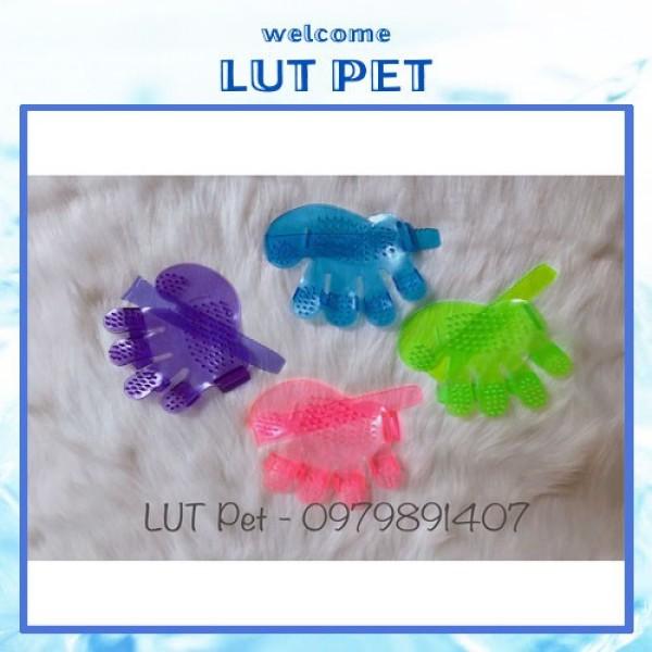 Găng tay tắm chó mèo (silicon) chải lông gỡ rối đánh bông lông - Bàn tay nhựa - GT-01