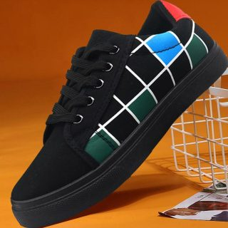 Giày nam đẹp, giày bata nam màu đen kết hợp ca rô nam tính, thời trang 4 mùa cho lứa tuổi học sinh, sinh viên ZATA - ZV05 thumbnail
