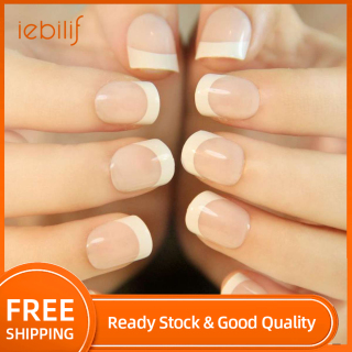 24Pcs Natural French Short False Nails 3 Styles Acrylic Classical Full Artificial Nails for Home Office faux ongles fake nails thumbnail