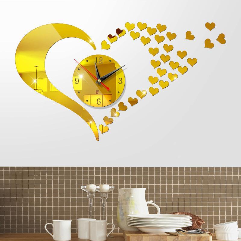 Đồng hồ trang trí treo tường - gắn tường sáng tạo loại lớn 3D DH05(Vàng) bán chạy
