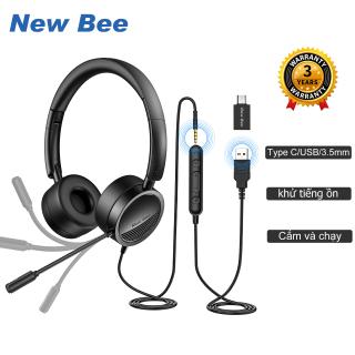 New Bee Tai nghe USB có micrô có giắc cắm 3,5 mm Loại bỏ tiếng ồn Micrô Thoải mái Trọng lượng nhẹ Phong cách doanh nhân cho PC Laptop Điện thoại di động Android USB Headsets thumbnail