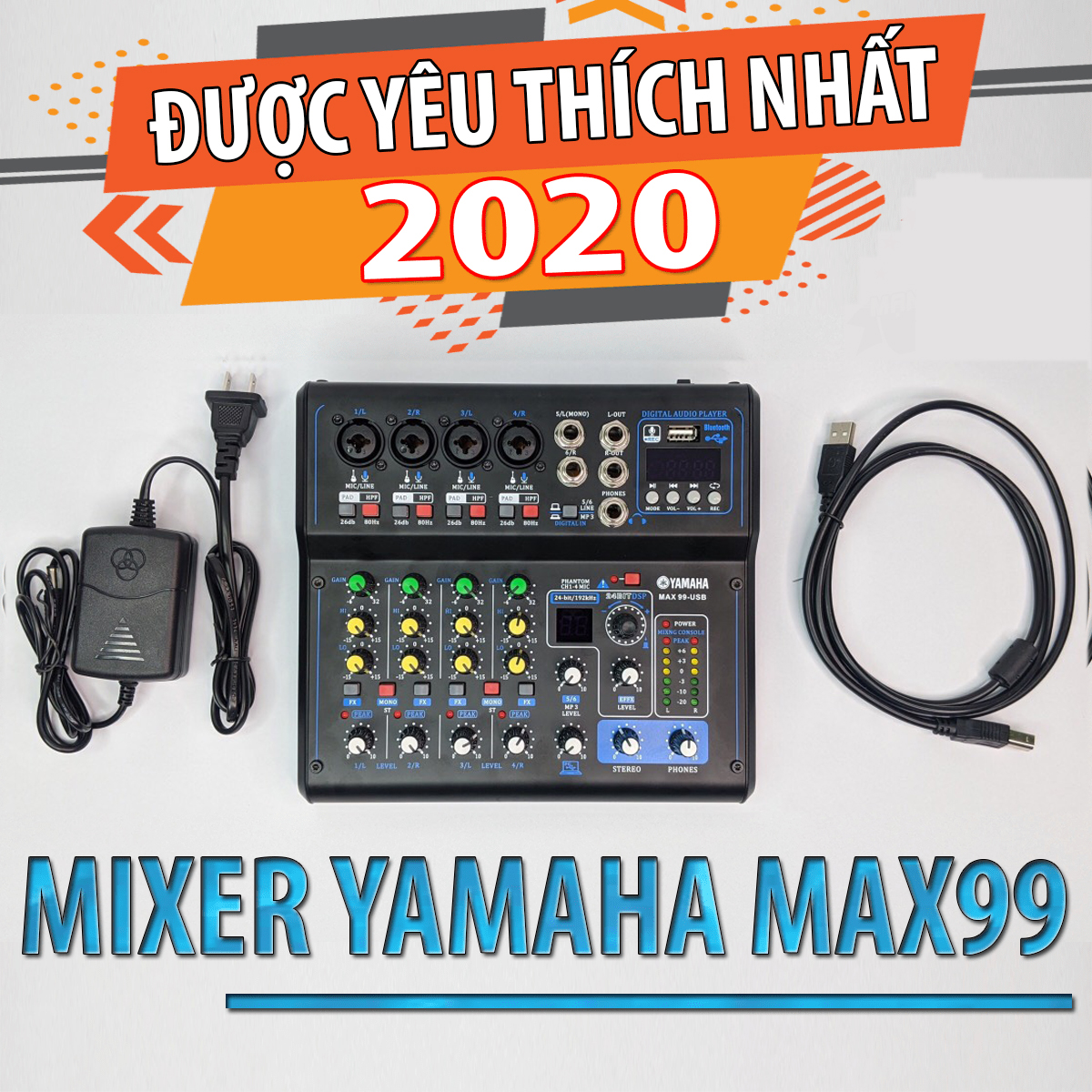 [TOP MIXER TÌM KIẾM NHIỀU NHÂT] Mixer YAMAHA MAX 99 - Tích Hợp 16 Hiệu Ứng Vang Số, Có Bluetooth, Cổng USB, Màn Hình Led Hiển Thị, Siêu Chống Hú, Livestream Face.book, Bi.go, Kết Nối Với Loa Kéo, Dàn Amply Karaoke Gia Đình, Hát Cực Hay