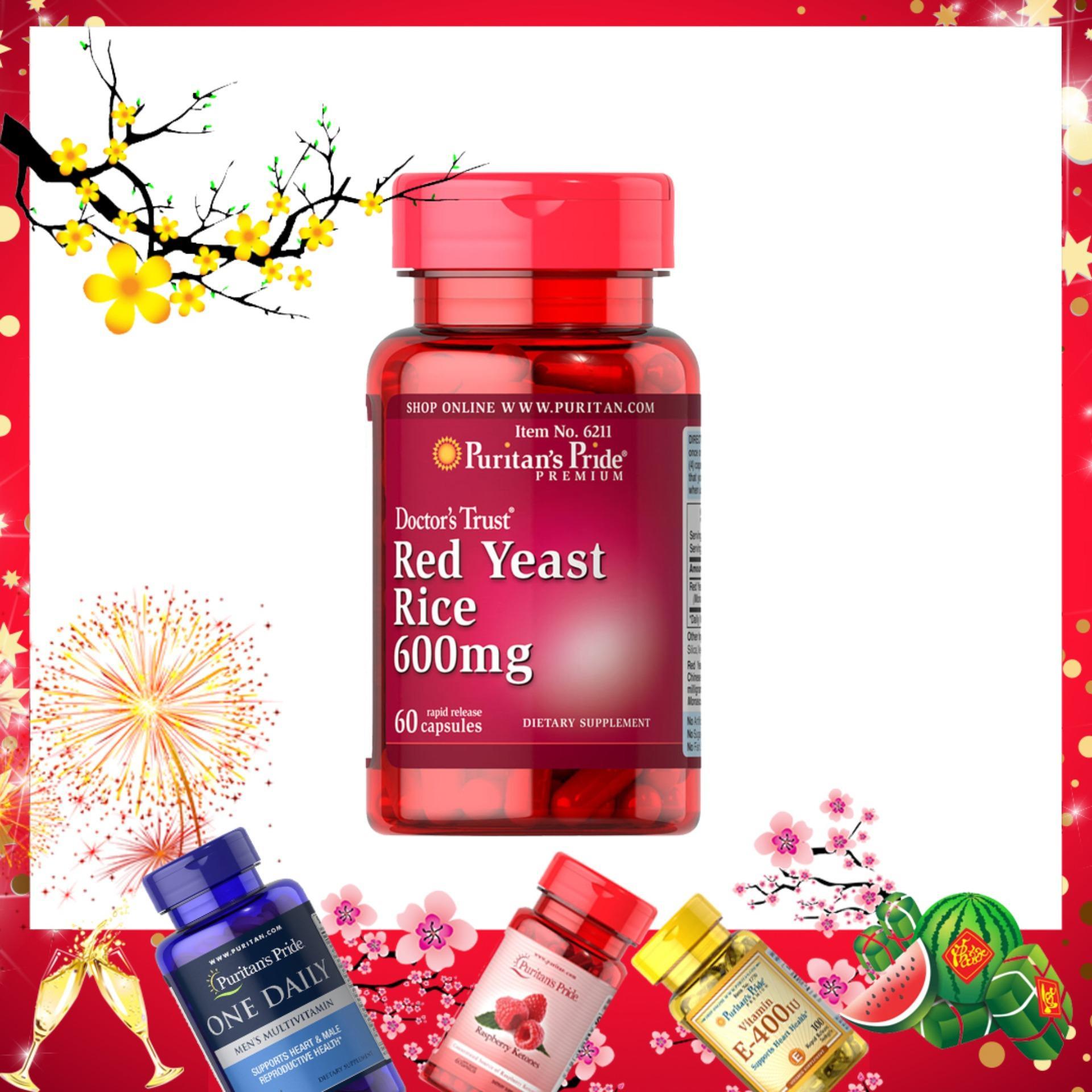 Viên uống giảm cholesterol tinh chất men gạo đỏ Puritans Pride Red Yeast Rice 60 viên nhập khẩu