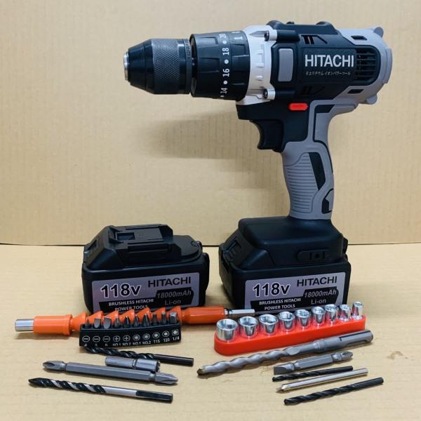 Máy khoan pin 118V Hitachi 3 chức năng có búa - Động cơ 775 siêu mạnh mẽ - Tặng kèm bộ phụ kiện 30 chi tiết