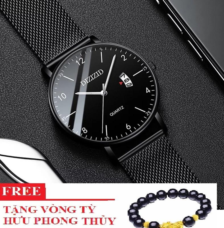 Đồng hồ nam chống nước DIZIZID dây thép có kèm lịch ngày cao cấp DZ3N01 TẶNG vòng tỳ hưu thạch anh đen