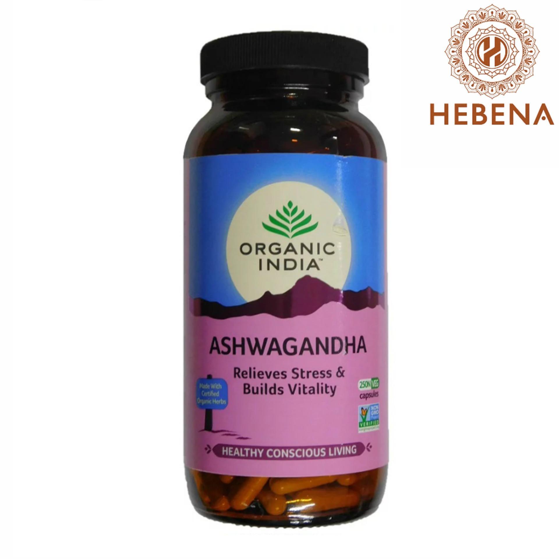 Viên uống nhân sâm Ấn Organic India Ashwagandha 250 viên - hebenastore