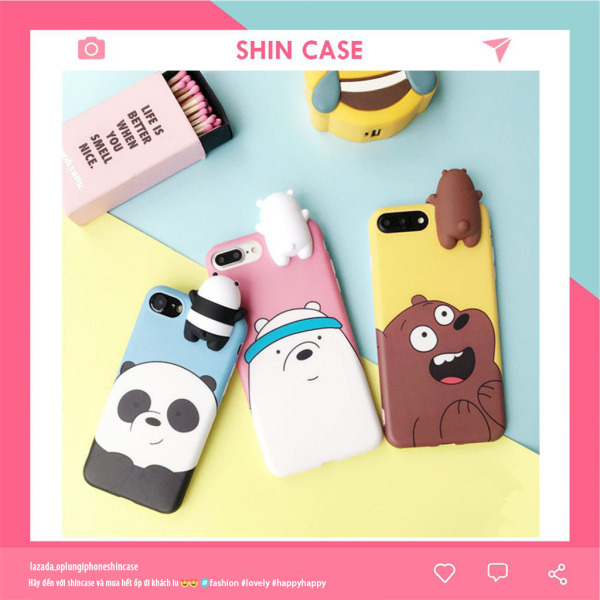[Nhập ELMAY21 giảm 10% tối đa 200k đơn từ 99k]Ốp lưng iphone  WE BARE BEARS 3D ip 6 6s 7 8 plus X XS max XR 11 pro max (b14) - Shin Case