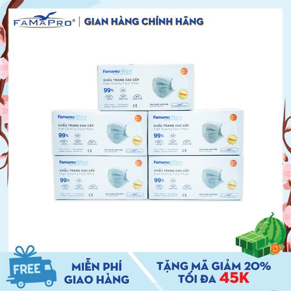 Combo 5 hộp khẩu trang y tế cao cấp 4 lớp Famapro Max kháng khuẩn (40 cái / Hộp)