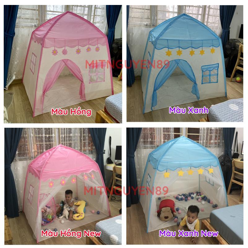 Lều cho bé, lều công chúa hoàng tử 2 màu xanh hồng mẫu mới 2021