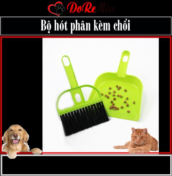 Doremiu- Bộ Xẻng hót phân kèm chổi dùng hót phân chó mèo - Dụng cụ Hót rác mini 17cm