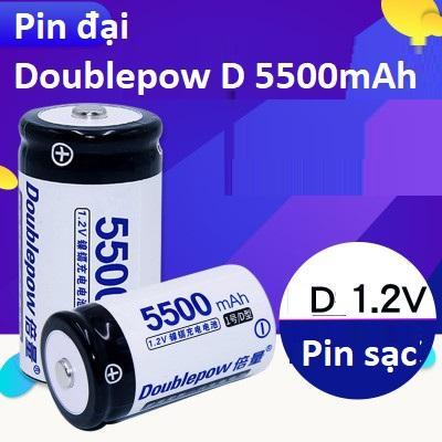 Bộ 02 pin sạc cỡ đại Doublepow D 5500mah
