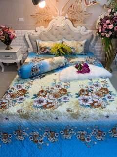 [SIÊU GIẢM GIÁ] Bộ drap 4 món cúc trắng (1 ga +1 vỏ gối ôm+2 vỏ gối nằm 160 200cm - bộ ga 4 món - bộ ga trải giường cotton thumbnail