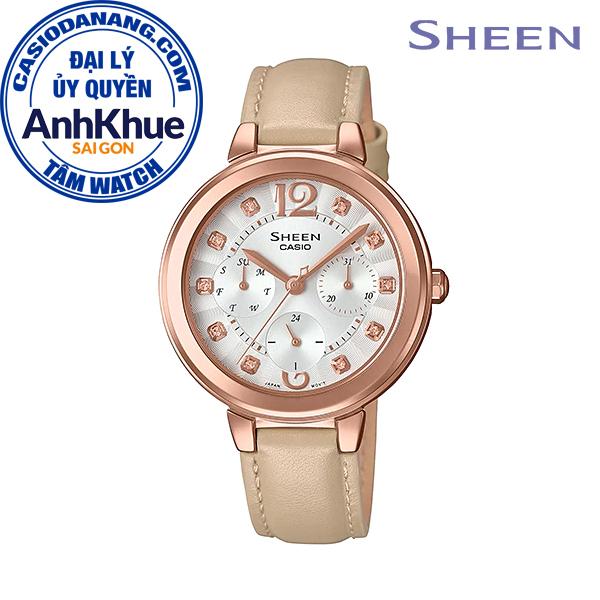 Đồng hồ nữ dây da Casio Sheen chính hãng Anh Khuê SHE-3048PGL-7BUDR (34mm)