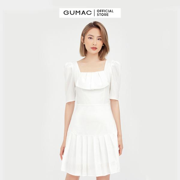 Nơi bán Đầm nữ cổ vuông dập ly GUMAC mẫu mới DB501 chất liệu Lainen Xước form hơi A style trẻ trung