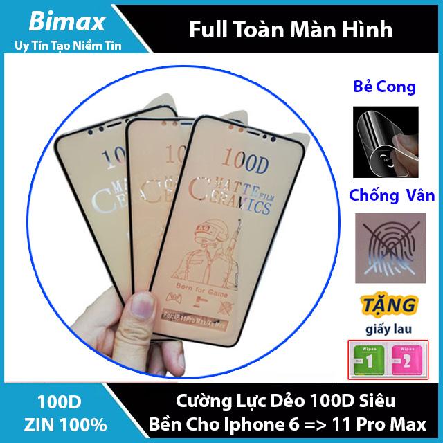 Tiết Kiệm Cực Đã Khi Mua Kính Cường Lực Dẻo 100D Siêu Mỏng,Siêu Bền,Chống Bám Vân Tay,Chống Va Đập Dành Cho Iphone 6/7/8/X/11 6Plus 7 Plus 8 Plus Xr Xs Max Iphone 11 Pro  Max Chất Lượng Cao,Bẻ Không Vỡ-Bimax