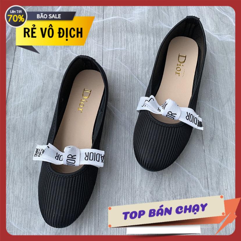Giày búp bê nữ nơ trắng giày đế bệt xăng đan đế bệt giá rẻ