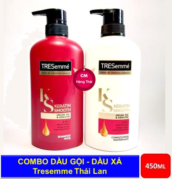 [ Mới 2020 ] Combo dầu gội và dầu xả phục hồi tóc hư tổn Tresemme Keratin Smooth 450ml   Thái Lan