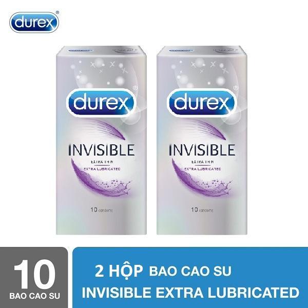Bộ 2 Hộp Bao cao su Durex Invisible Extra Lubricated 10s - Hãng phân phối chính thức nhập khẩu