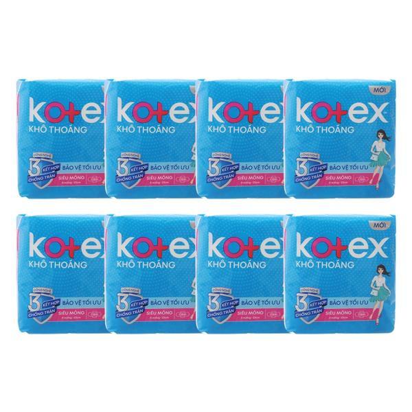 Bộ 8 Băng vệ sinh Kotex khô thoáng siêu mỏng cánh (8 miếng )
