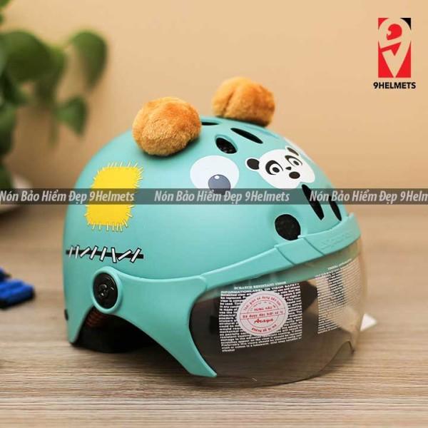Giá bán [HCM]Mũ Bảo Hiểm Trẻ Em Có Kính Hình Gấu Xanh Ngọc