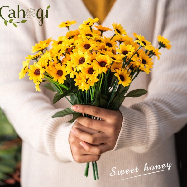 Hoa Giả Hoa Cúc Vàng 24 Bông Nhỏ