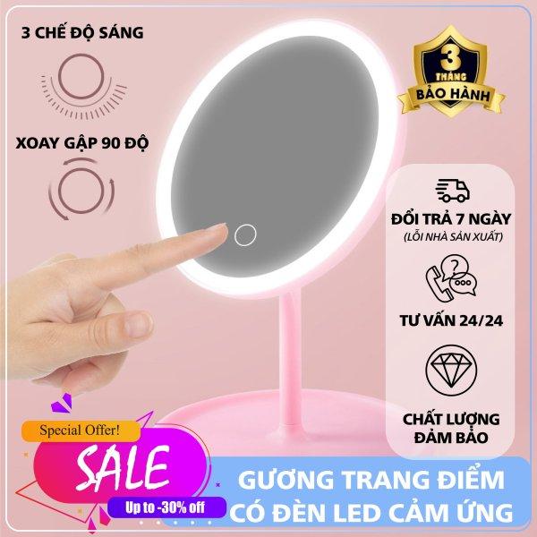 Gương trang điểm có đèn led - Gương trang điểm có đèn LED tròn cảm ứng 3 chế độ sáng, Gương trang điểm - Gương cảm ứng phụ kiện làm đẹp cho các chị em ( Màu Ngẫu Nhiên)