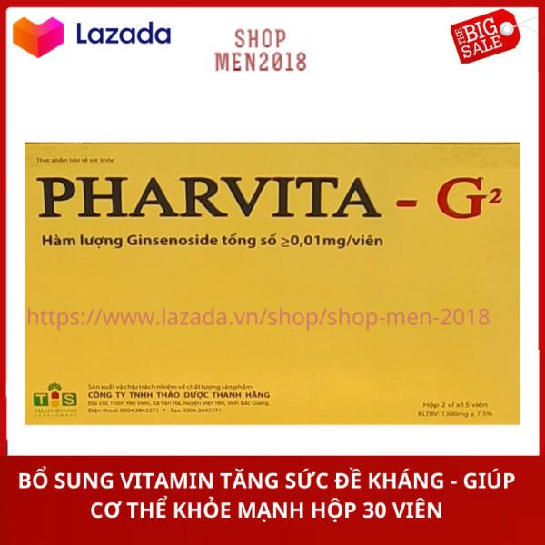Vitamin tăng sức đề kháng Pharvita G2 giúp cơ thể khỏe mạnh ăn ngon ngủ tốt 1 hộp x 30 viên HSD 2023