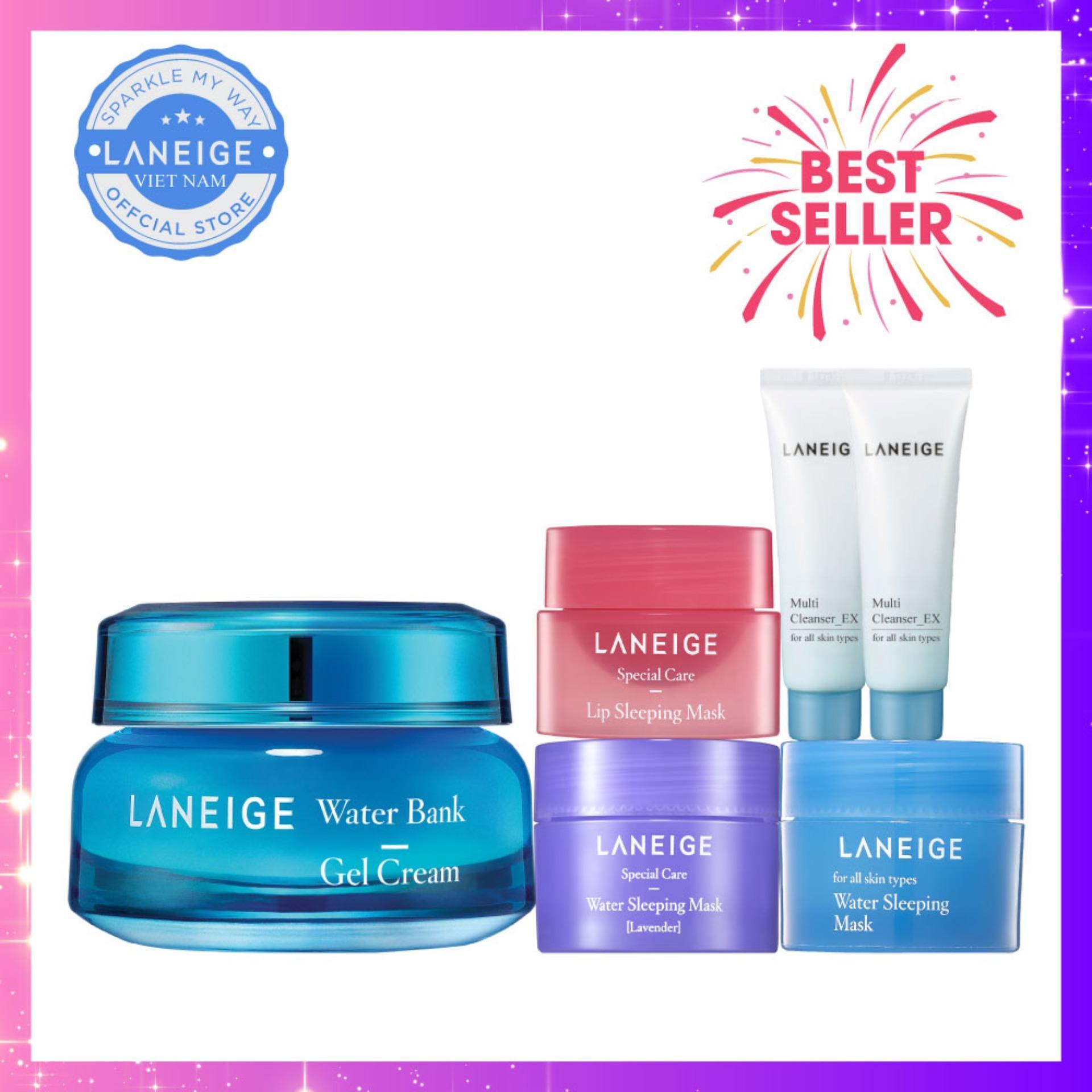 Kem dưỡng ẩm dạng gel Laneige Water Bank Gel Cream 50ml + Tặng bộ bộ quà tặng Sleeping Care Good Night Kit nhập khẩu