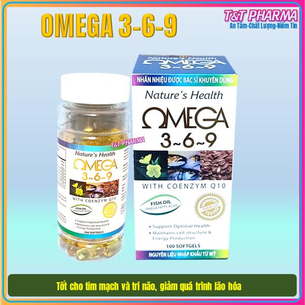 [hộp 100 viên] Viên dầu cá Ome.ga 369 Nature health Bổ não, sáng mắt, khỏe mạnh tim mạch, tăng cường trí nhớ - Hộp 100 viên thành phần dầu cá 1000mg, EPA 180mg, DHA 120mg