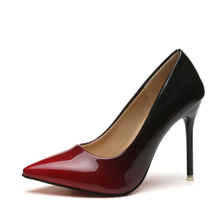 41 Large Size 42 Code Fat Feet women Shoes 10 Cm Thin Heeled Pointed  Shallow Mouth dc01d9fcb4b8