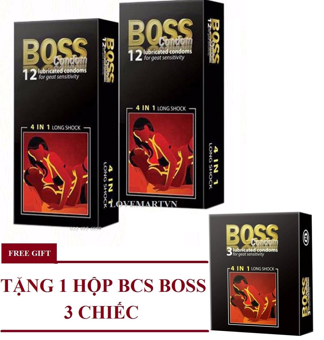 Bộ 2 hộp Bao cao su gân gai nổi - kéo dài thời gian cực tốt Boss 4in1 tặng 1 hộp 3 chiếc