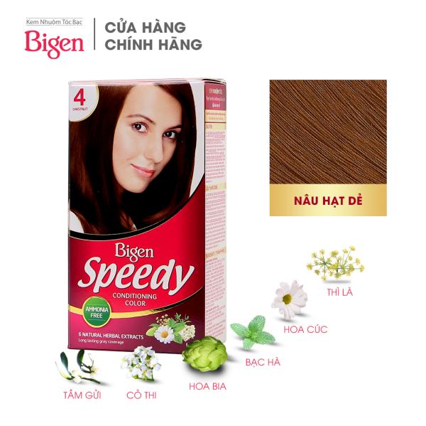 Thuốc nhuộm dưỡng tóc phủ bạc thảo dược Bigen Speedy Thương hiệu Nhật Bản 80ml dạng kem - Nâu Hạt Dẻ 4