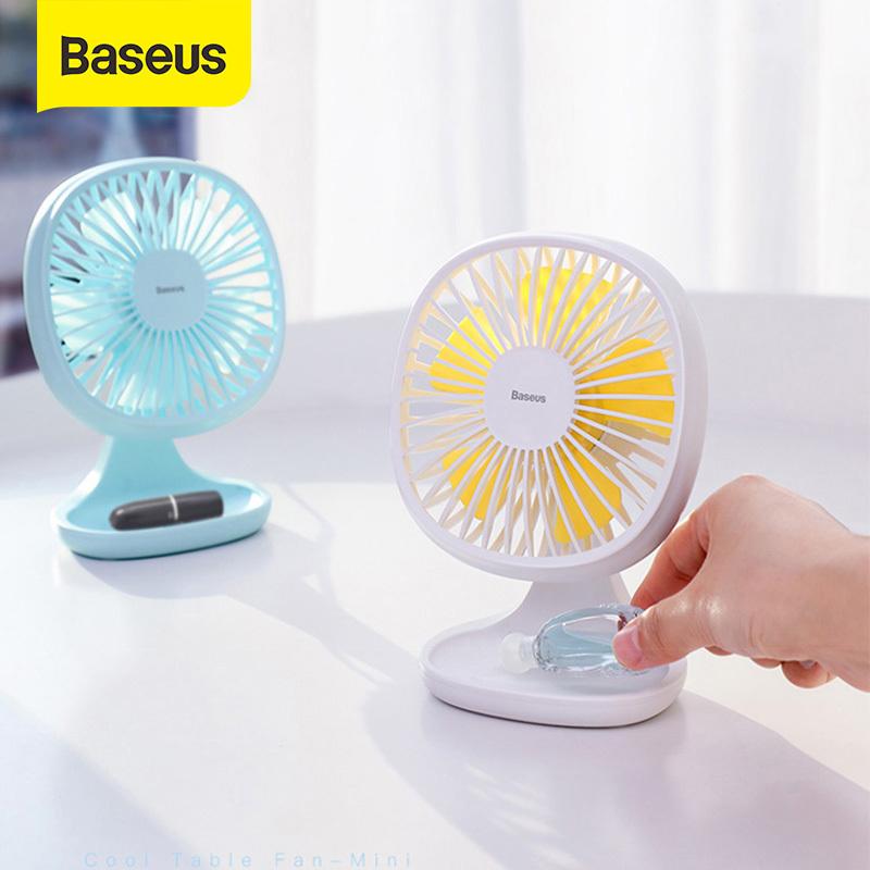 Baseus Quạt mini để bàn USB , Quạt bàn yên tĩnh 3 chế độ tốc độ Bàn làm mát mùa hè yên tĩnh cho phòng gia đình văn phòng Quạt văn phòng để bàn 5 cánh