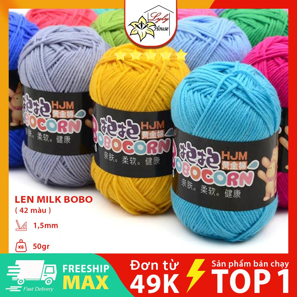 Len milk cotton bobo cao cấp , len sợi đan khăn , len đan áo màu sắc đa dạng sợi len mềm bóng không phai màu an toàn sử dụng