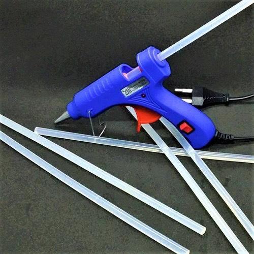 Súng bắn keo Nến silicon 20w (Xanh) + Tặng 10 cây keo Silicon nến ngắn 12-14cm
