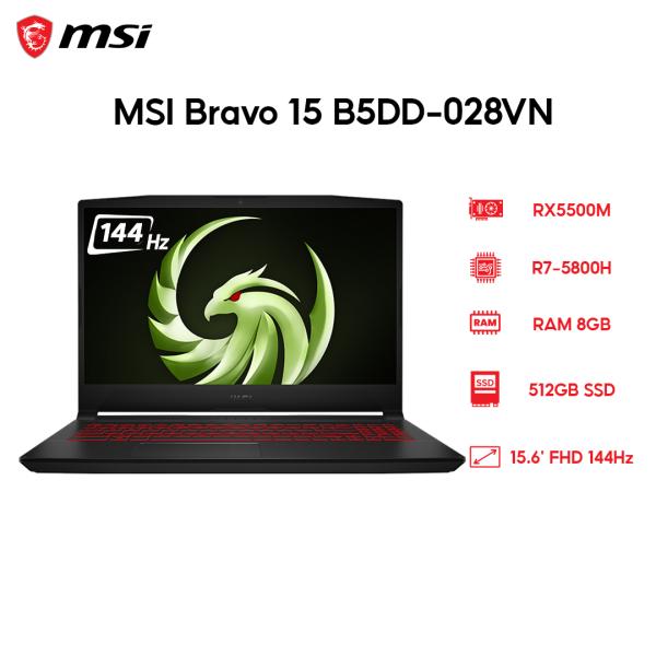 Bảng giá Laptop MSI Bravo 15 B5DD-028VN R7-5800H | 8GB | 512GB | VGA RX5500M 4GB | 15.6 FHD 144Hz | Win 10 Phong Vũ