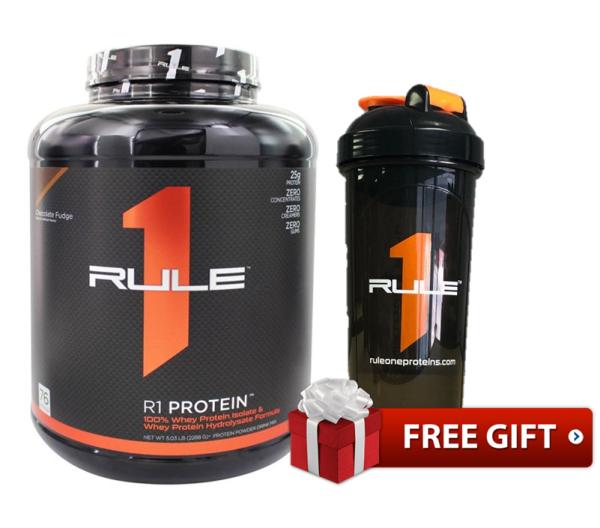 Sữa tăng cơ Rule 1 Protein Isolate/ Hydrolysate 5lb - 76 servings - 2.28kg  tặng bình lắc Rule 1 shaker nhập khẩu