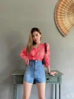 quần short jean nữ lưng cao phối túi vuông dáng ôm cực đẹp m5345 thumbnail