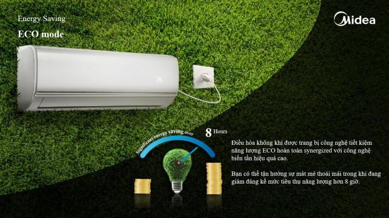 Bảng giá Máy lạnh Inverter 9500BTU (1HP Điều hoà 1 chiều, tiết kiệm điện, có tính năng làm lạnh nhanh, lọc bụi HD) - Hàng phân phối chính hãng - Bảo hành tại nhà 3 năm toàn quốc Midea MSAB-10CRDN8