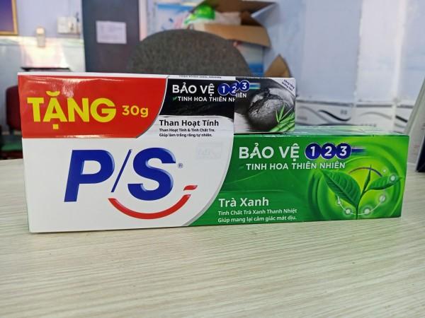 Kem đánh răng P/S bảo vệ 123 trà xanh thanh nhiệt 190g tặng kem đánh răng than hoạt tính 30g giá rẻ