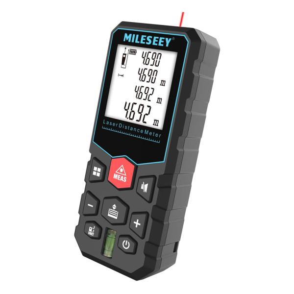 Mileseey Máy đo khoảng cách bằng laser cầm tay, phạm vi đo 40m 60m 80m, dùng để đo đơn, đo liên tục, đo diện tích, đo thể tích, pythagore, ứng dụng trong gia đình, xây dựng, công nghiệp