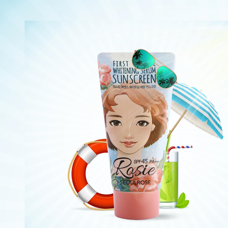Kem Chống Nắng Rosie Seoul Rose First Essence Whitening Serum Sunscreen