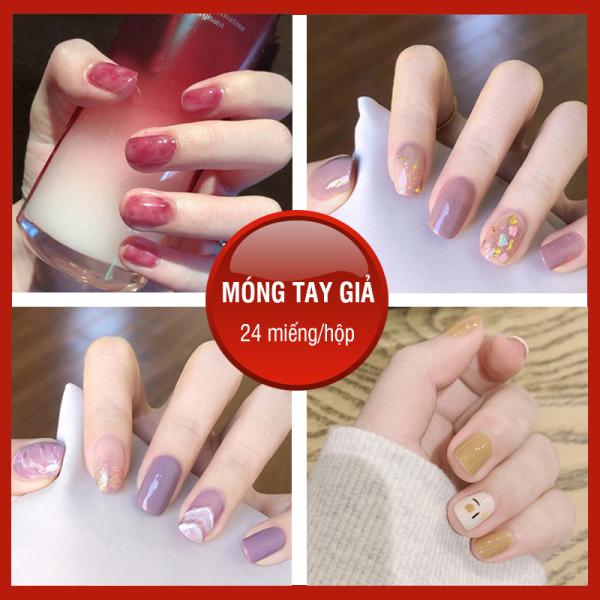 [ TẶNG KEO ] Bộ 24 móng tay giả cao cấp nail giả đẹp hot trend móng giả bộ móng tay giả móng tay giả có keo sẵn XP-MT011 giá rẻ