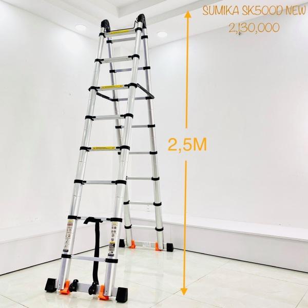 Thang nhôm rút chữ A 2M5 duỗi thẳng 5M