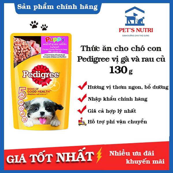 Thức ăn cho chó con Pedigree vị gà và rau củ 130gr