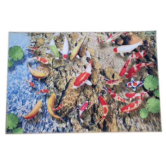 Thảm Lót Sàn 3D Chống Trượt Họa Tiết Hồ Cá Koi(40x60cm)