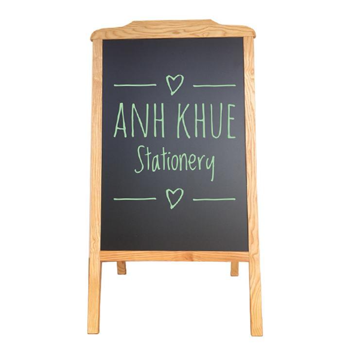 Mua Bảng đen khung gỗ -bảng menu gỗ đứng 2 mặt  60x120 cm Tặng bút dạ quang, bông lau, hộp phấn