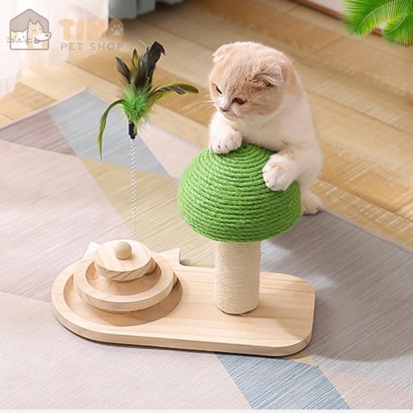 Cây cào móng cho mèo cao cấp - Kèm đồ chơi banh gỗ vui nhộn cho mèo